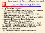summary of facts about insured losses regarding katrina