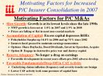 motivating factors for increased p c insurer consolidation in 2007