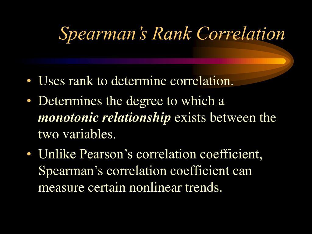 Spearman's Rank Correlation