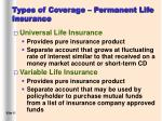 types of coverage permanent life insurance11