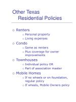 other texas residential policies