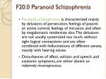 f20 0 paranoid schizophrenia