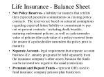 life insurance balance sheet