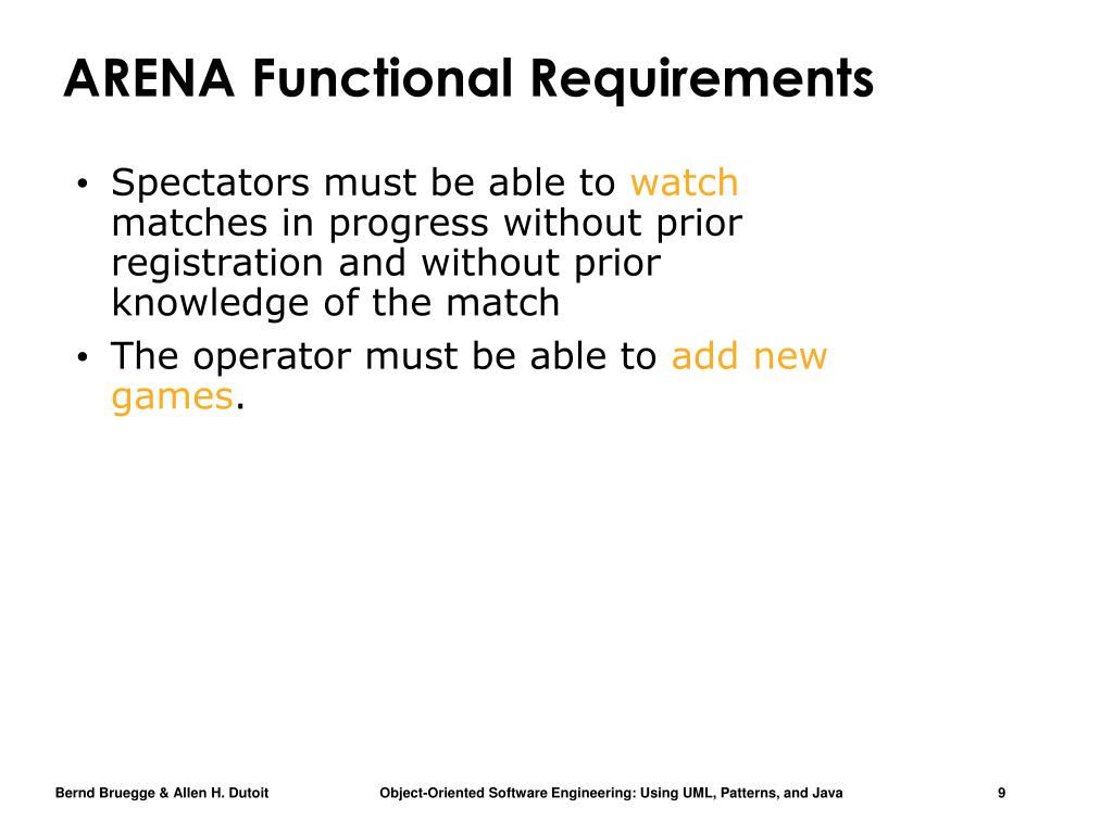 ARENA Functional Requirements