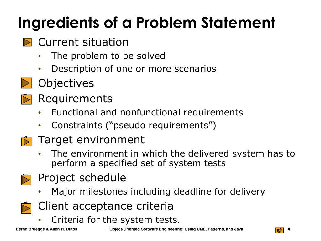 Ingredients of a Problem Statement