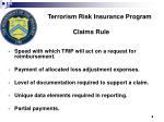 terrorism risk insurance program claims rule