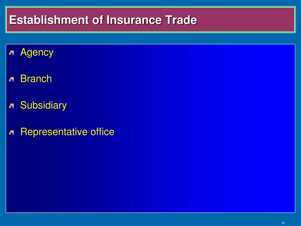 Establishment of Insurance Trade