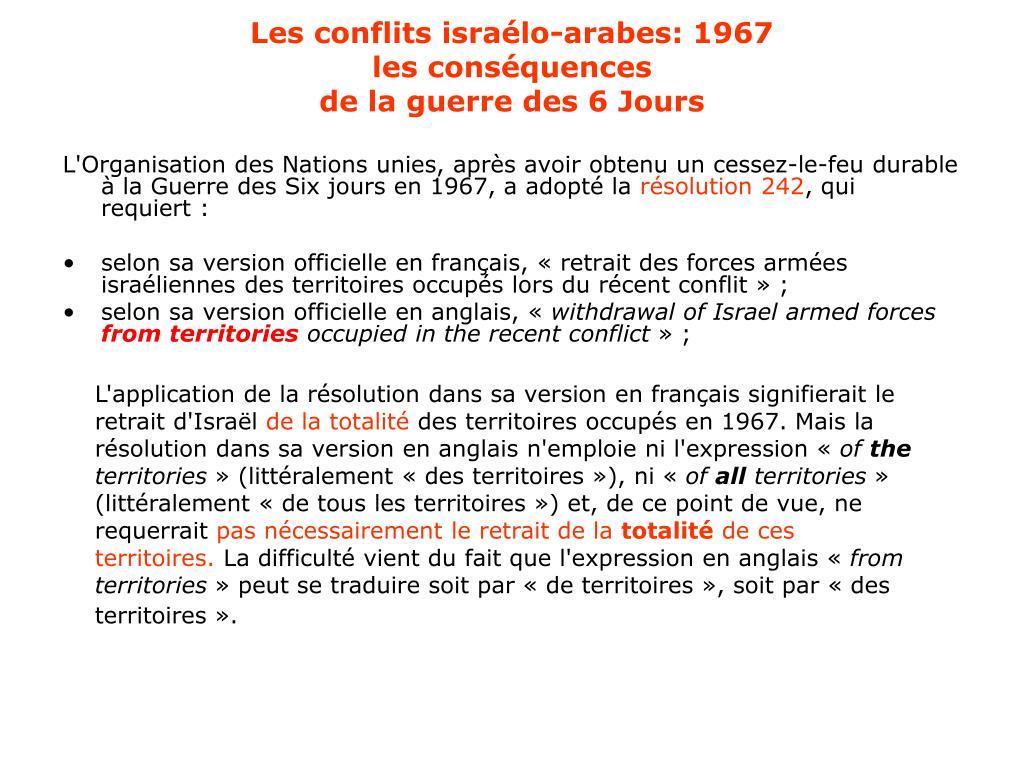 Les conflits israélo-arabes: 1967