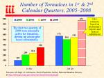 number of tornadoes in 1 st 2 nd calendar quarters 2005 2008
