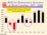roe for homeowners insurance in north carolina 1997 2006