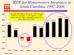 roe for homeowners insurance in south carolina 1997 2006