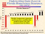 underwriting gain loss in florida homeowners insurance 1992 2007e