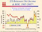 us reinsurer net income roe 1985 2007