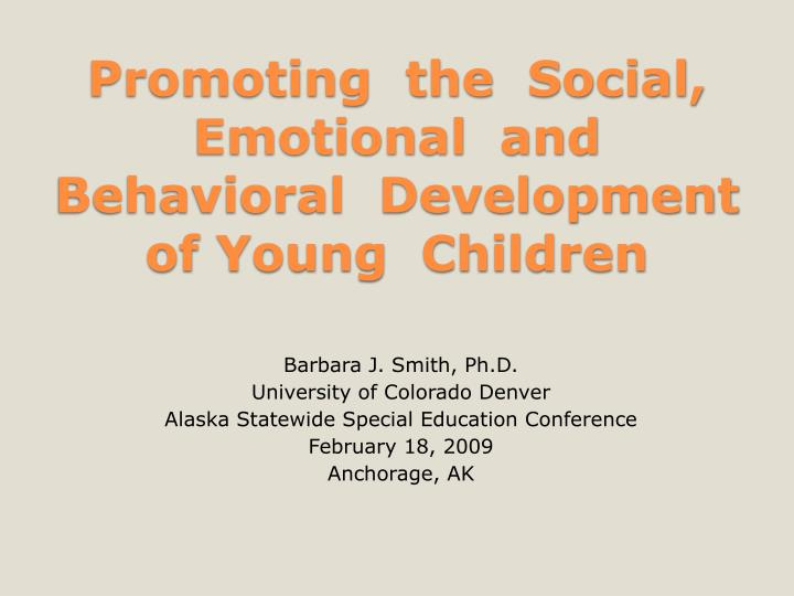 promoting the social emotional and behavioral development of young children n.