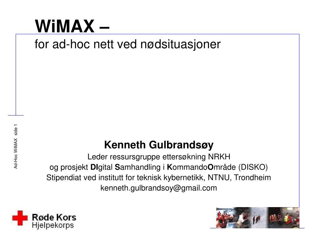 wimax for ad hoc nett ved n dsituasjoner