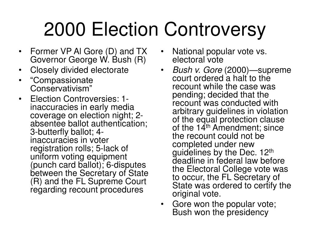 Former VP Al Gore (D) and TX Governor George W. Bush (R)
