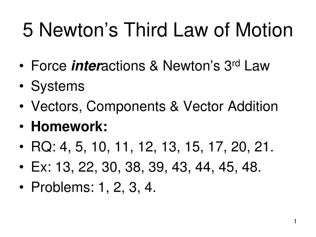 ppt 5 newton s third law of motion powerpoint presentation id 457661
