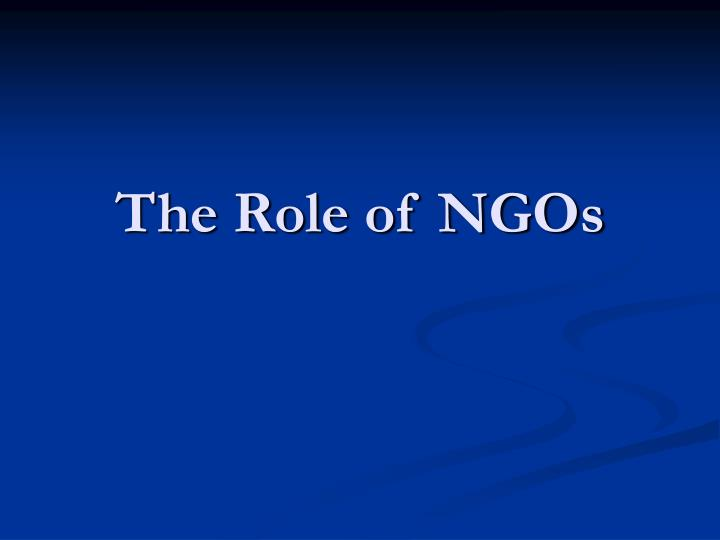 the role of ngos n.