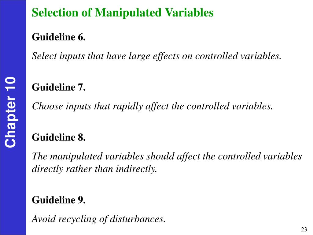 Selection of Manipulated Variables