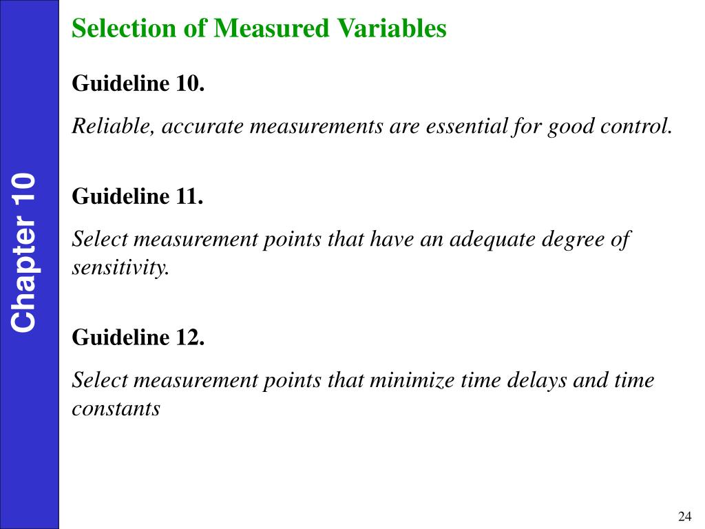 Selection of Measured Variables