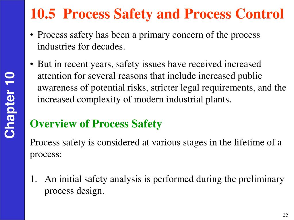 10.5  Process Safety and Process Control