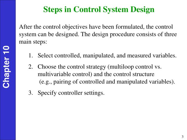 Steps in Control System Design