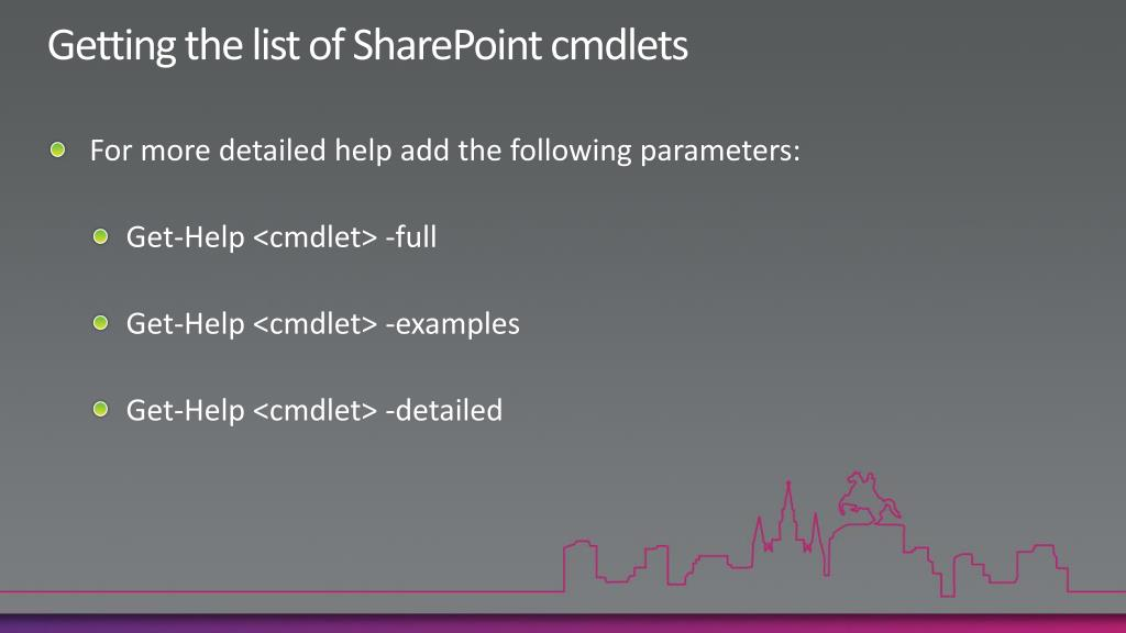 Getting the list of SharePoint cmdlets