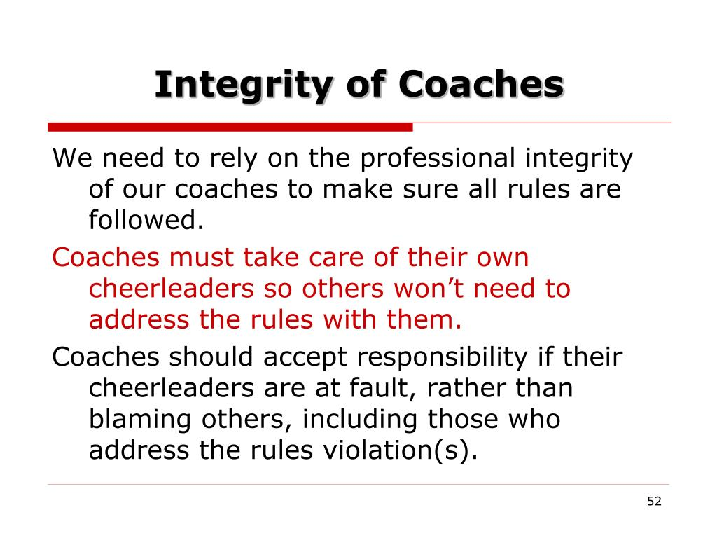 Integrity of Coaches