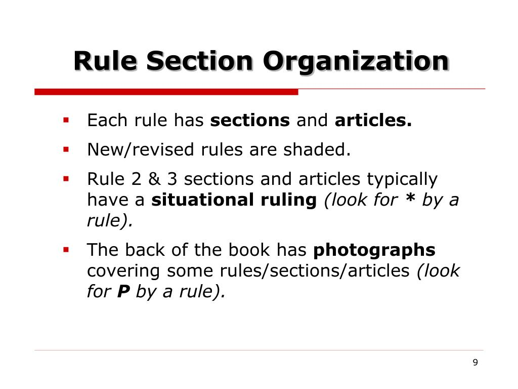 Rule Section Organization