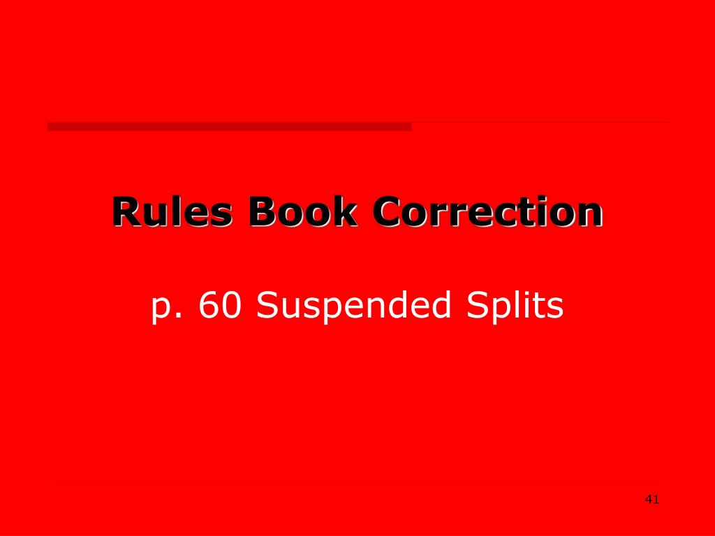 Rules Book Correction