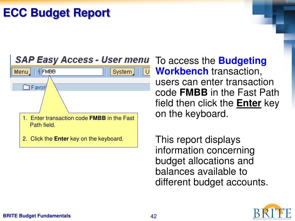 ECC Budget Report