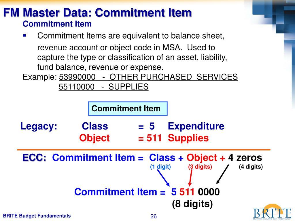FM Master Data: Commitment Item