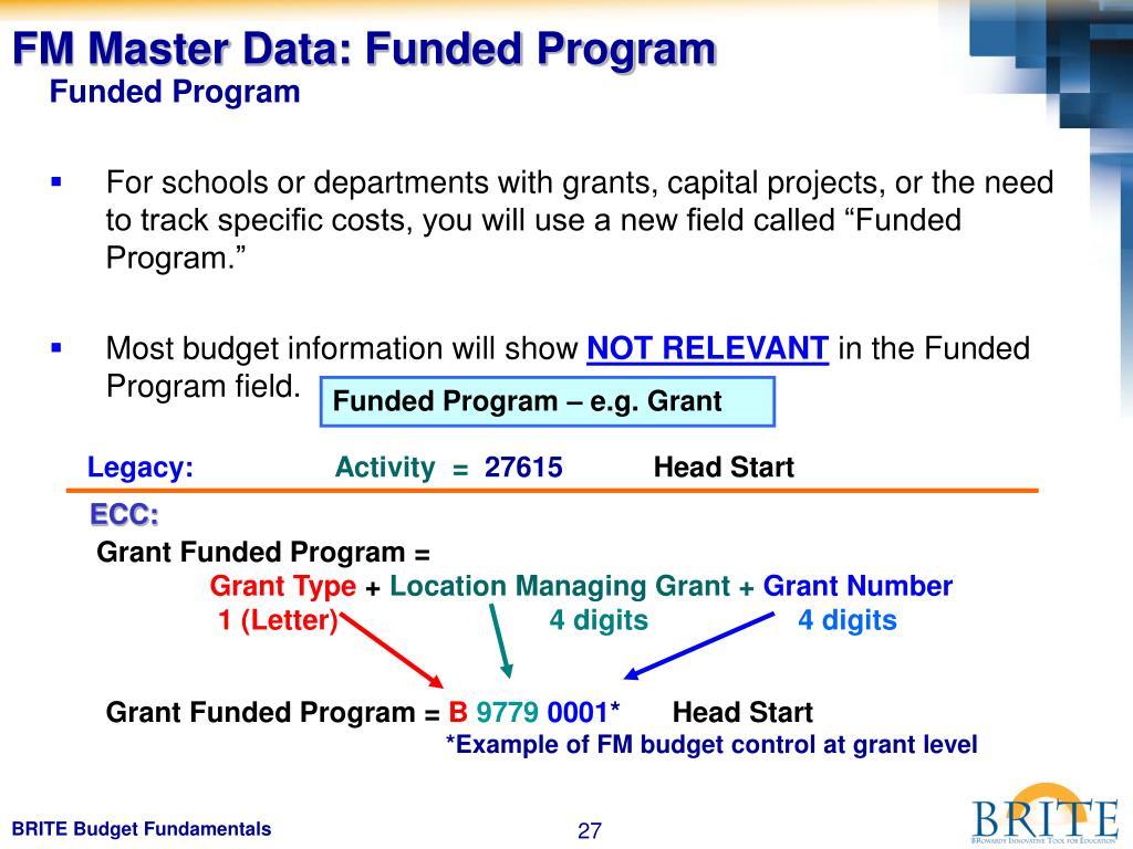 FM Master Data: Funded Program