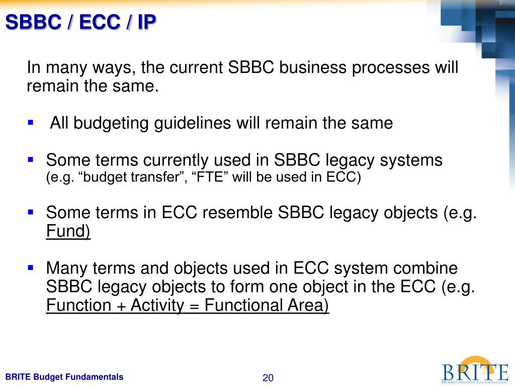 SBBC / ECC / IP