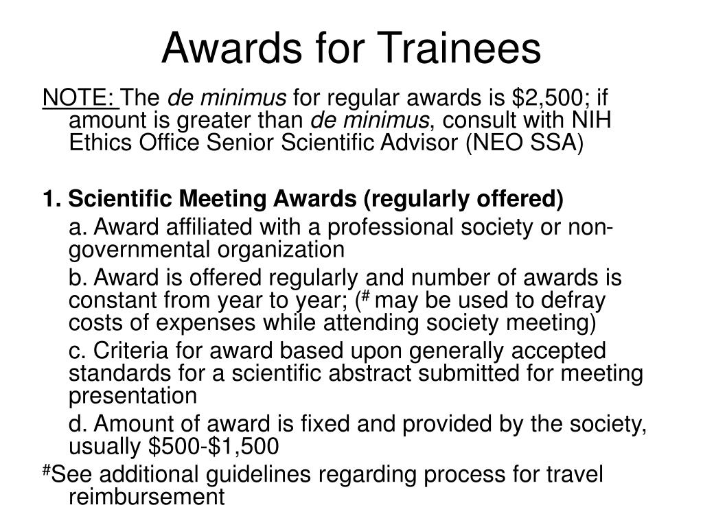 Awards for Trainees