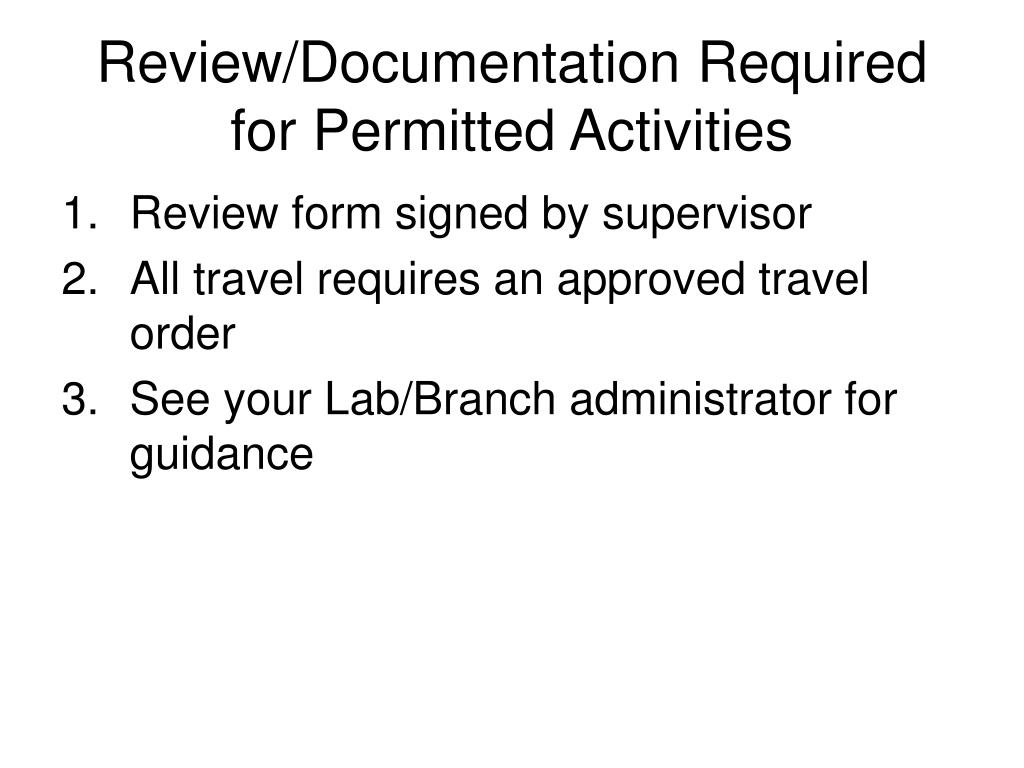 Review/Documentation Required for Permitted Activities