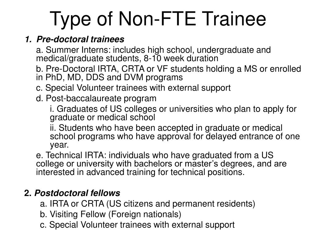 Type of Non-FTE Trainee