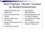 best practices percent increase on student achievement