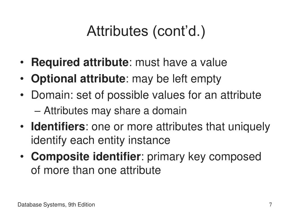 Attributes (cont'd.)