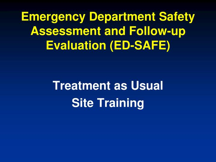 emergency department safety assessment and follow up evaluation ed safe n.