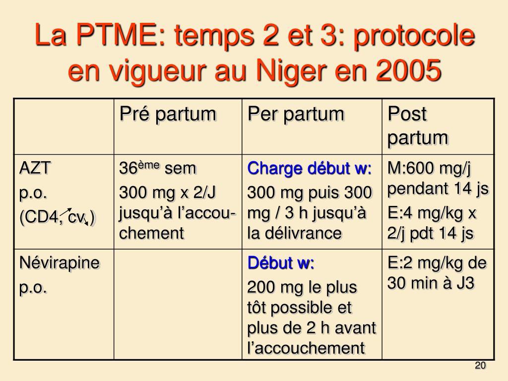 La PTME: temps 2 et 3: protocole en vigueur au Niger en 2005