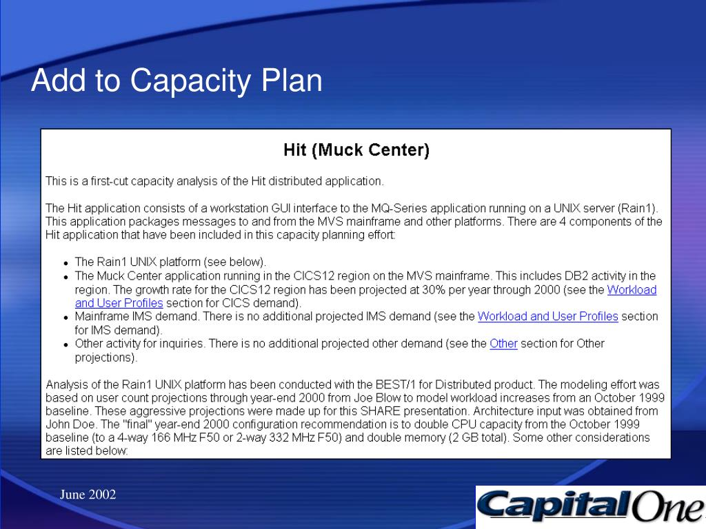 Add to Capacity Plan