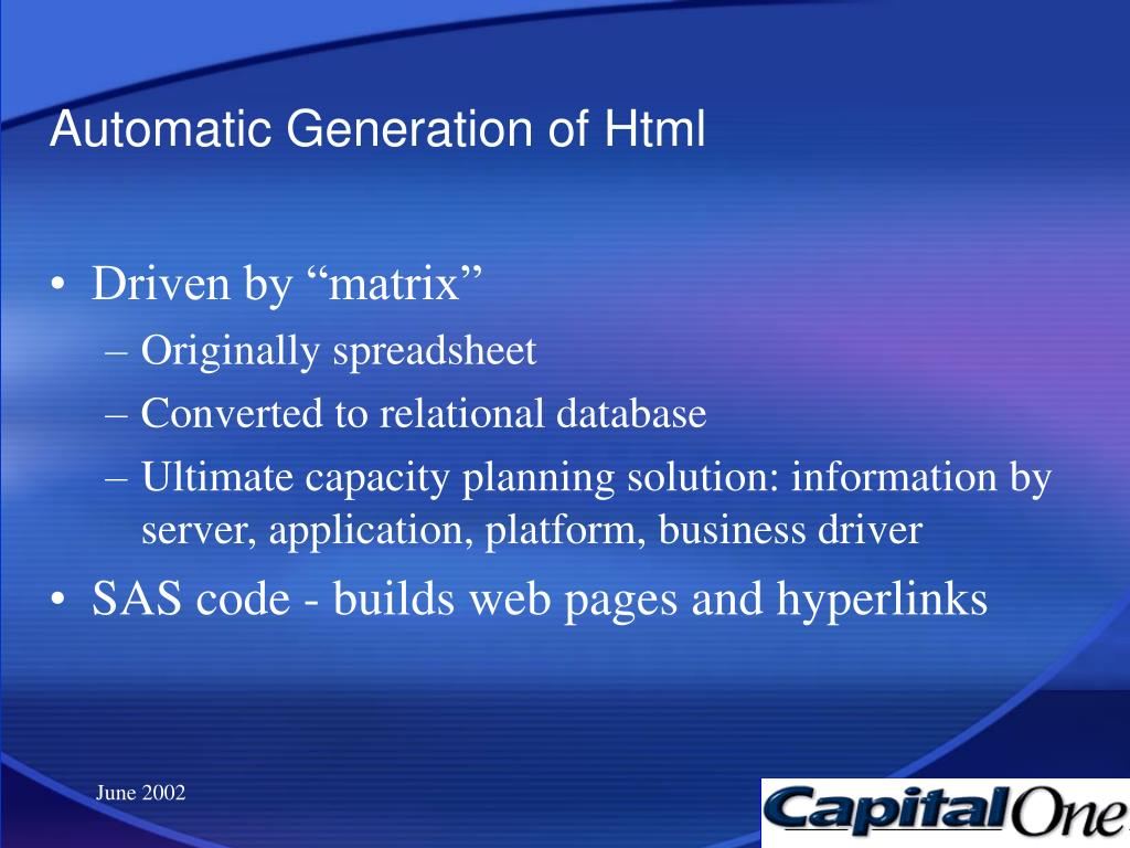 Automatic Generation of Html
