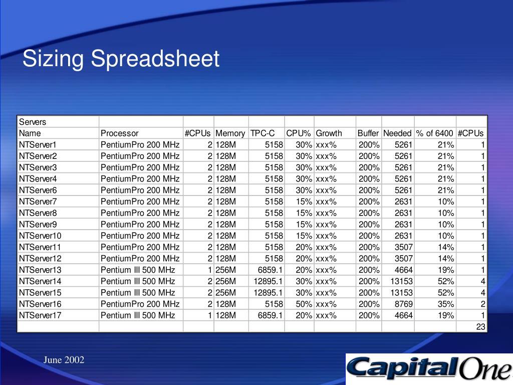 Sizing Spreadsheet