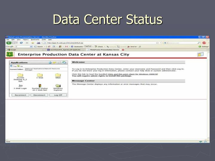 Data Center Status
