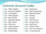 common account codes