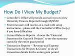 how do i view my budget