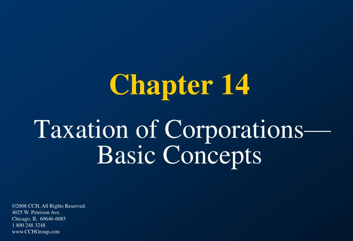 chapter 14 taxation of corporations basic concepts n.