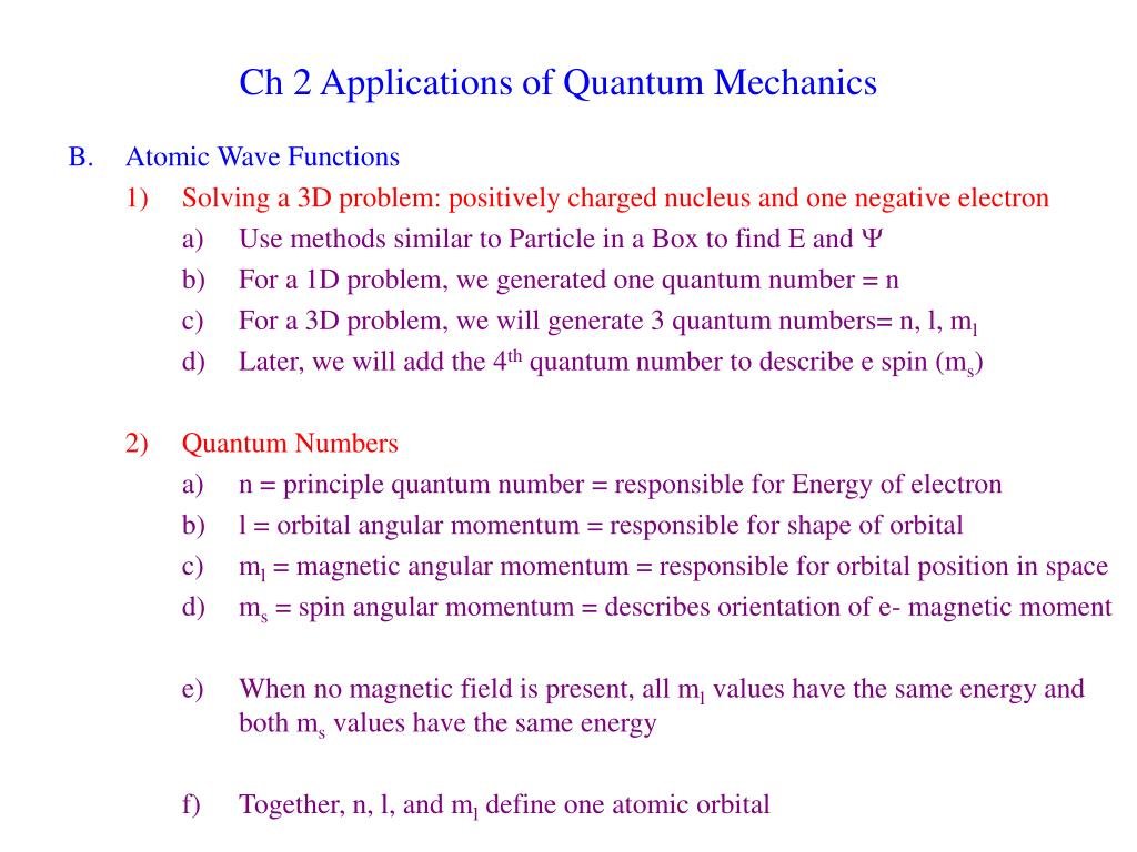 PPT - Ch 2 Applications of Quantum Mechanics PowerPoint