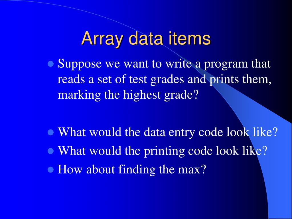 Array data items